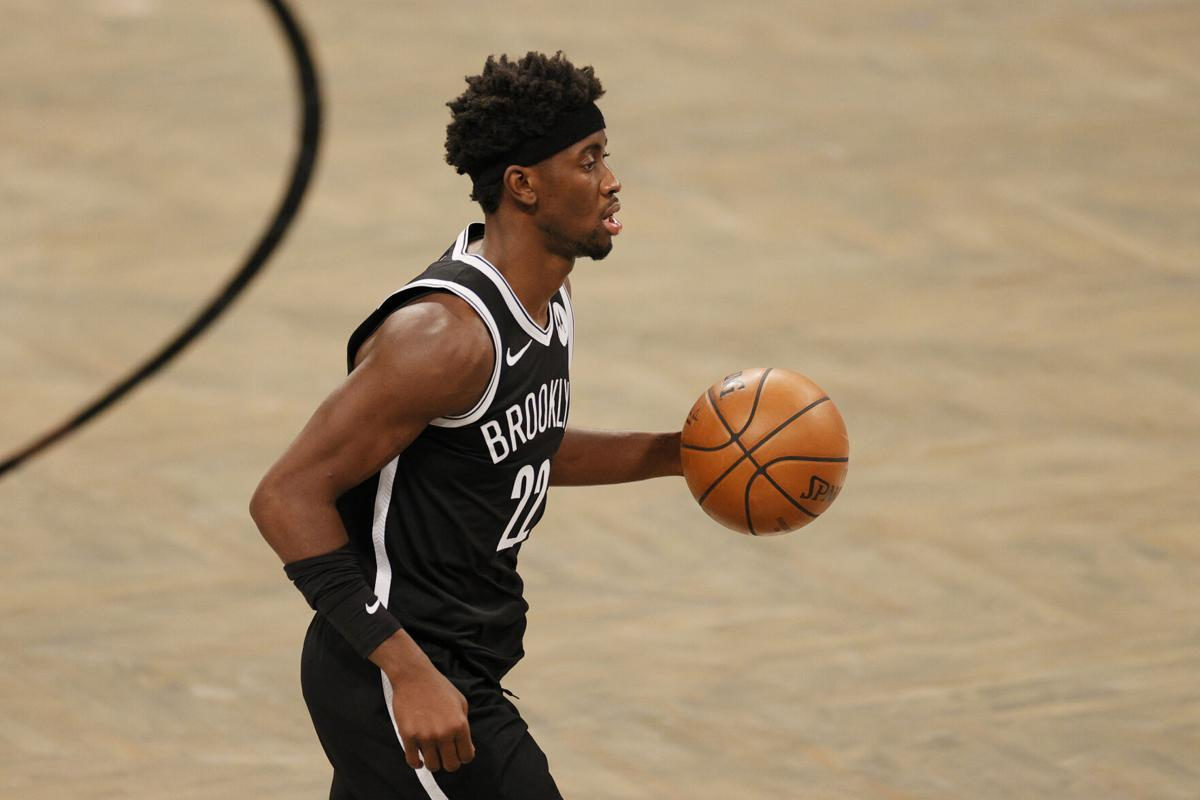 The Brooklyn Nets' Caris LeVert moves the ball during the second half against the Atlanta Hawks at Barclays Center in New York on January 1, 2021.