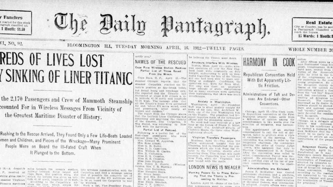 Gallery: Historic front pages from The Pantagraph's archives