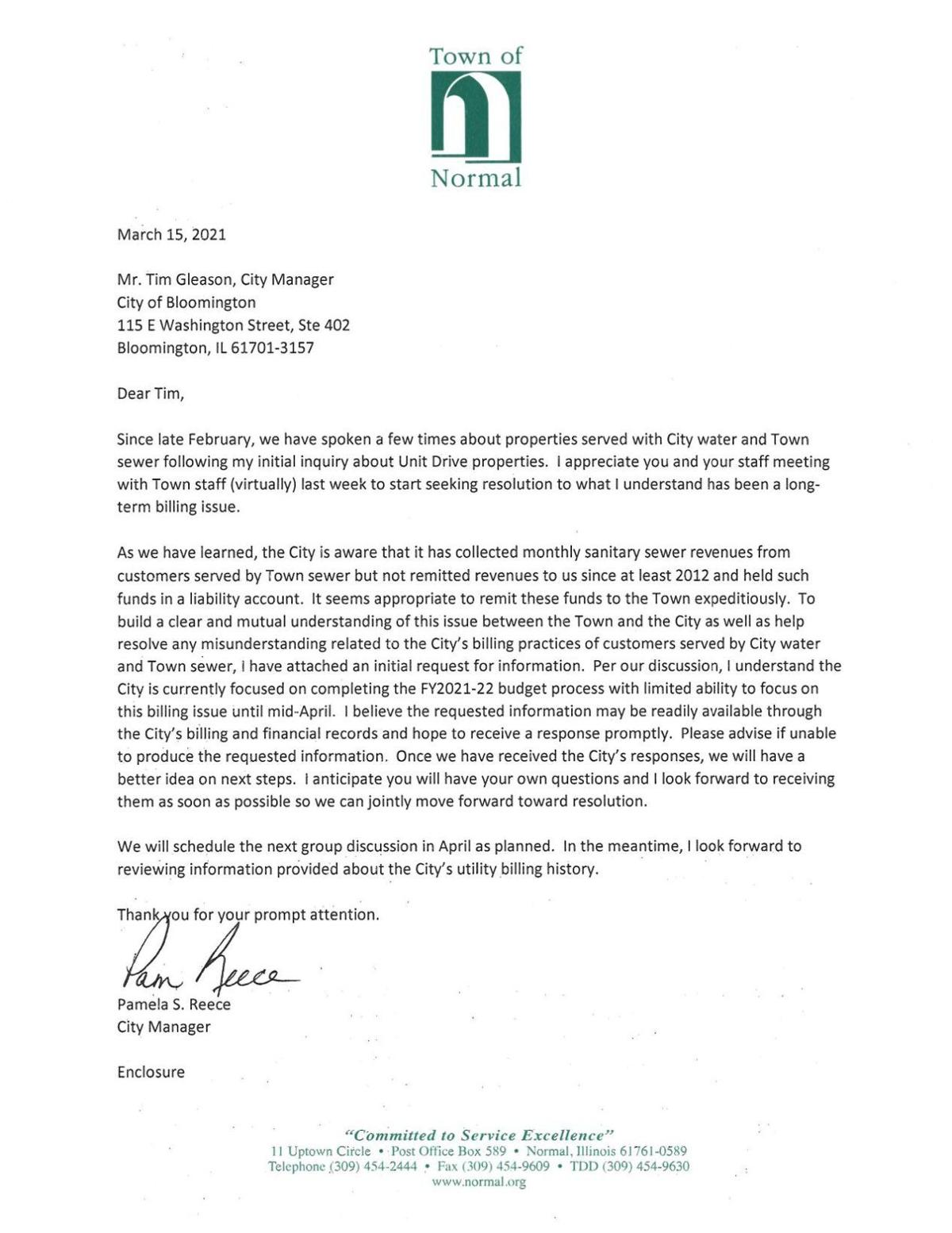 Letter sent to City Manager Tim Gleason, March 15