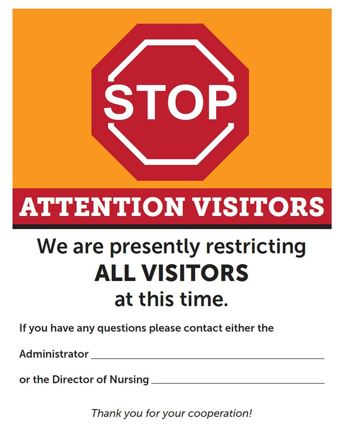 visitor visitors nursing restrictions sign homes covid heritage care facilities access limits term coronavirus impose allowing staff blm pantagraph operations