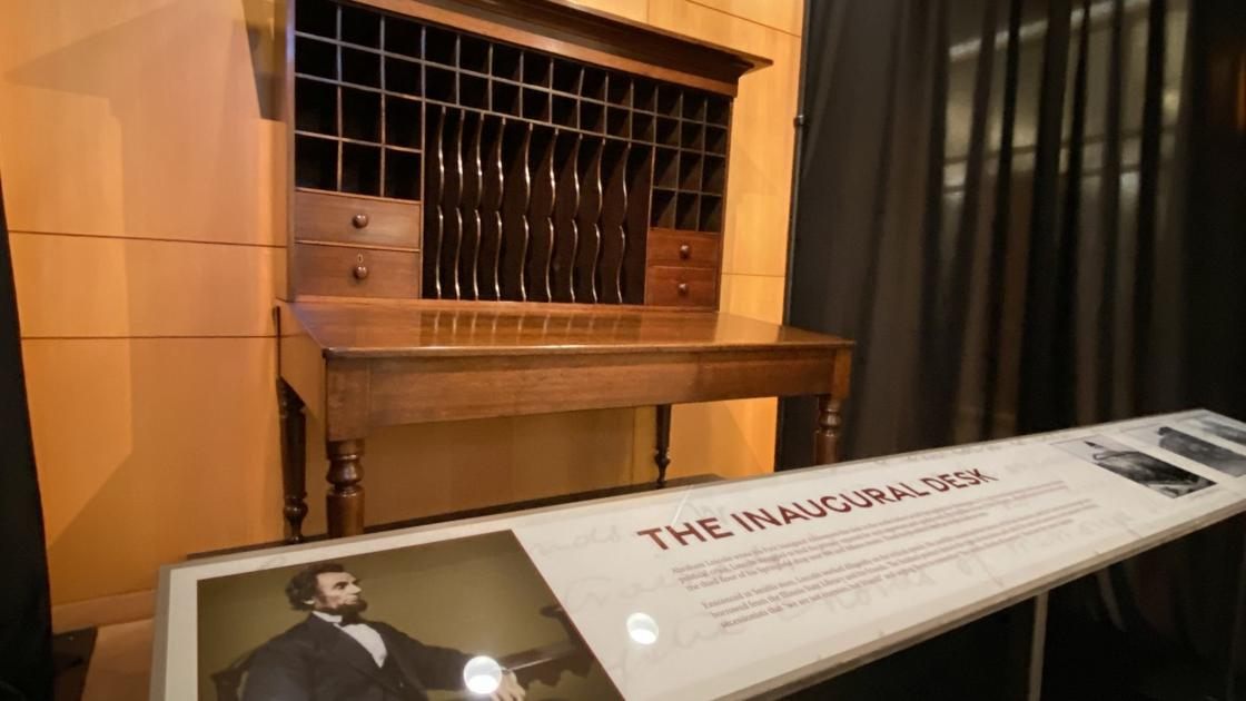 Watch now: Desk used by Lincoln to write first inaugural goes on display