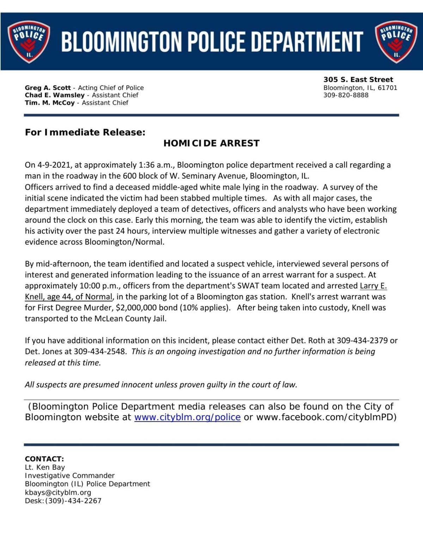 Bloomington police news release