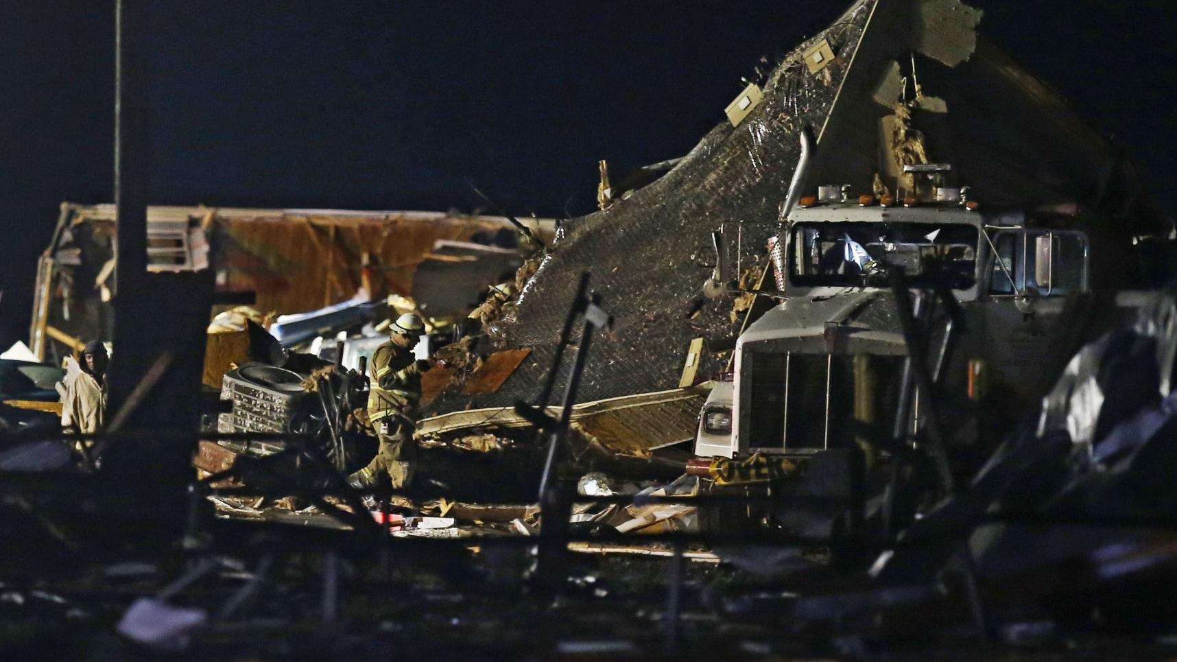 Photos: At least 2 dead after likely tornado roars through Oklahoma town