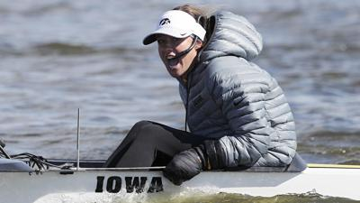 Faith Wieland rowing