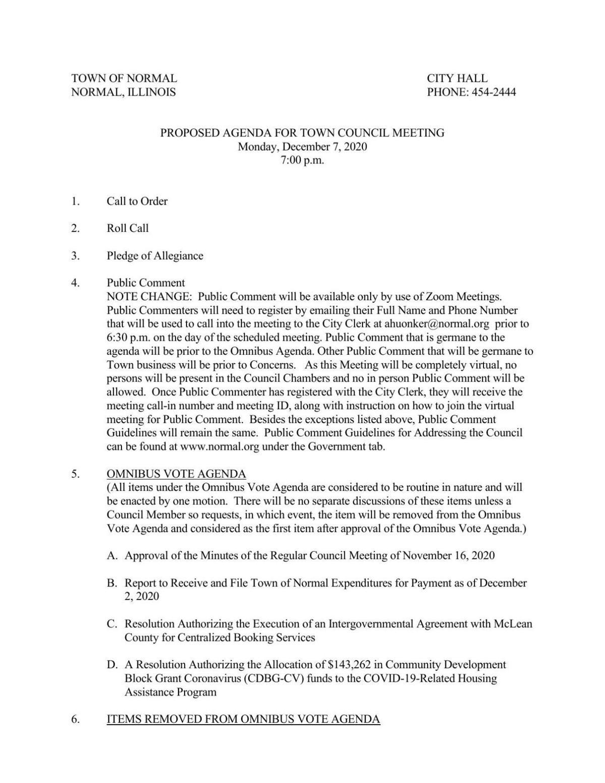Normal Town Council Meeting Dec. 7, 2020
