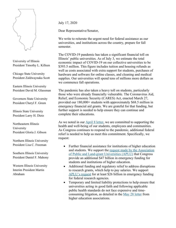 Letter from university presidents