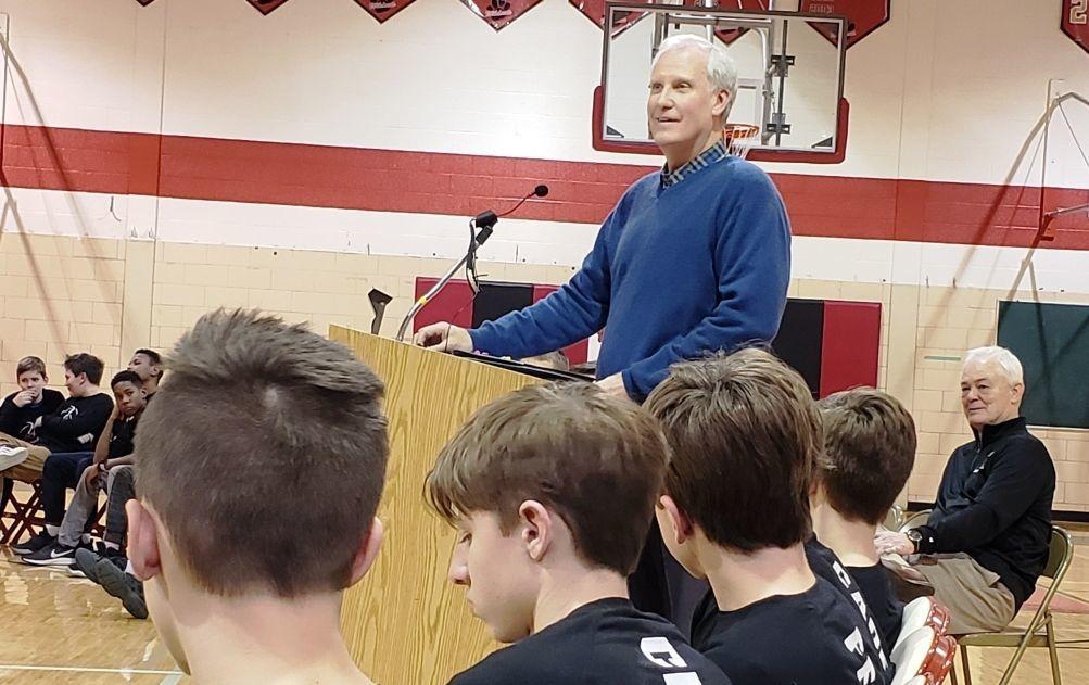 Jim Crews speaking at Metcalf School