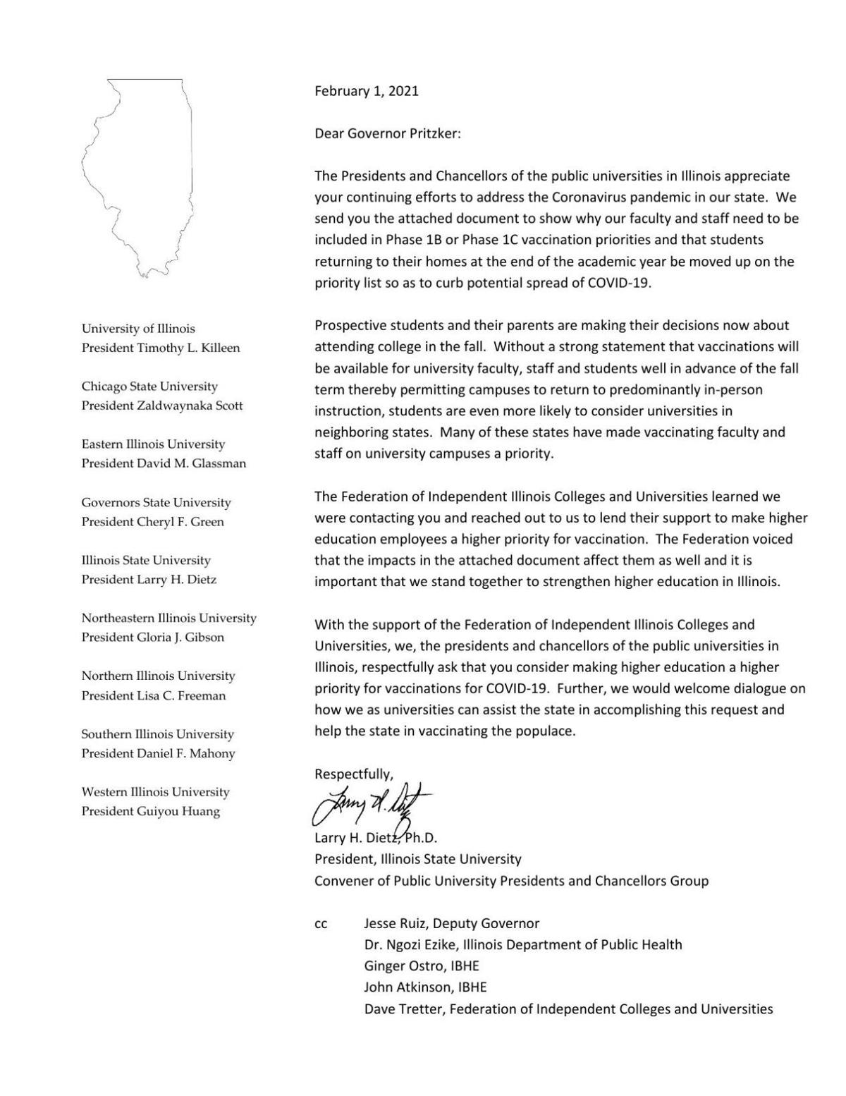 Letter calls for expanded vaccinations