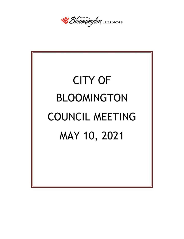 May 10, 2021 Bloomington City Council agenda