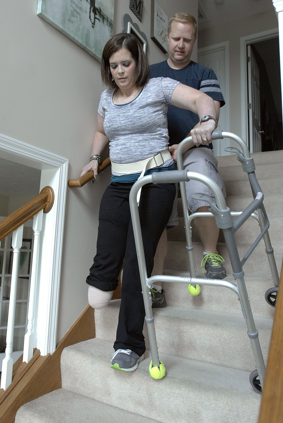 Amputee crutches woman -