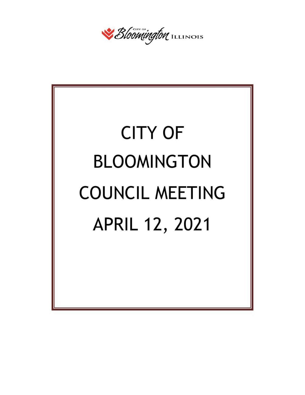 April 12, 2021 Bloomington City Council agenda
