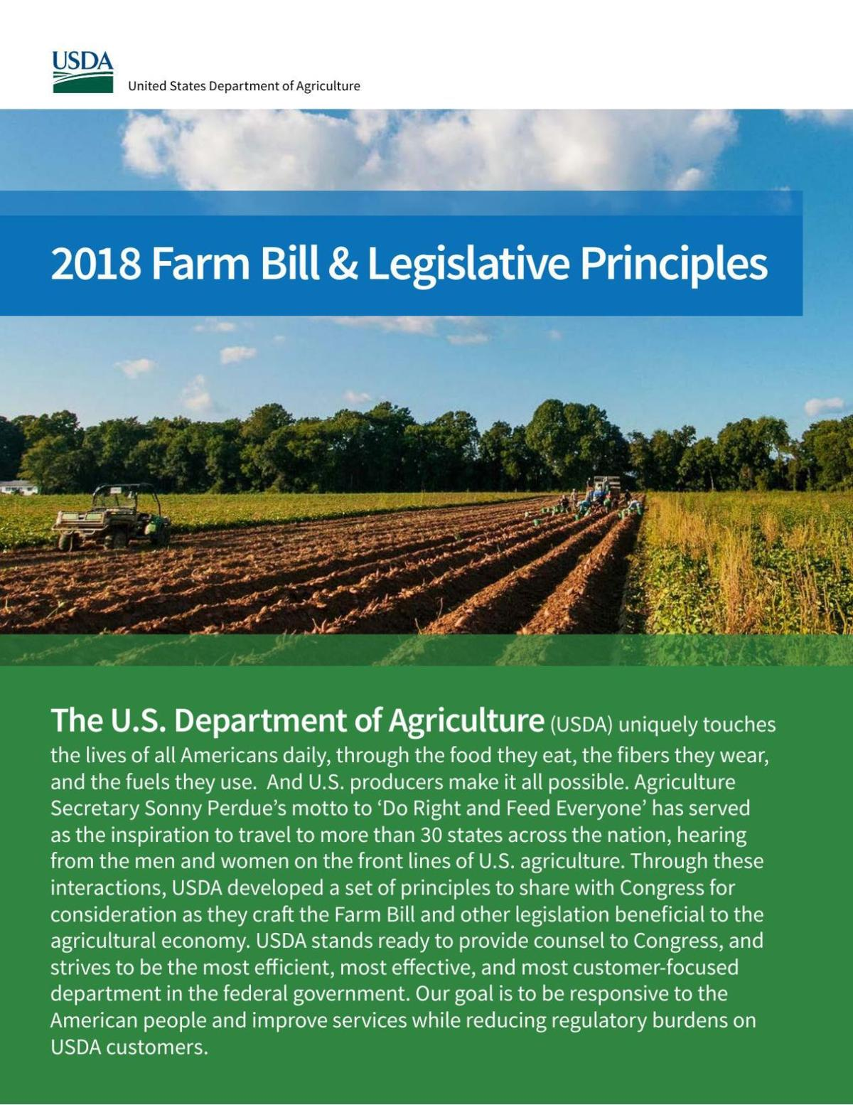 USDA: 2018 Farm Bill and Legislative Principles