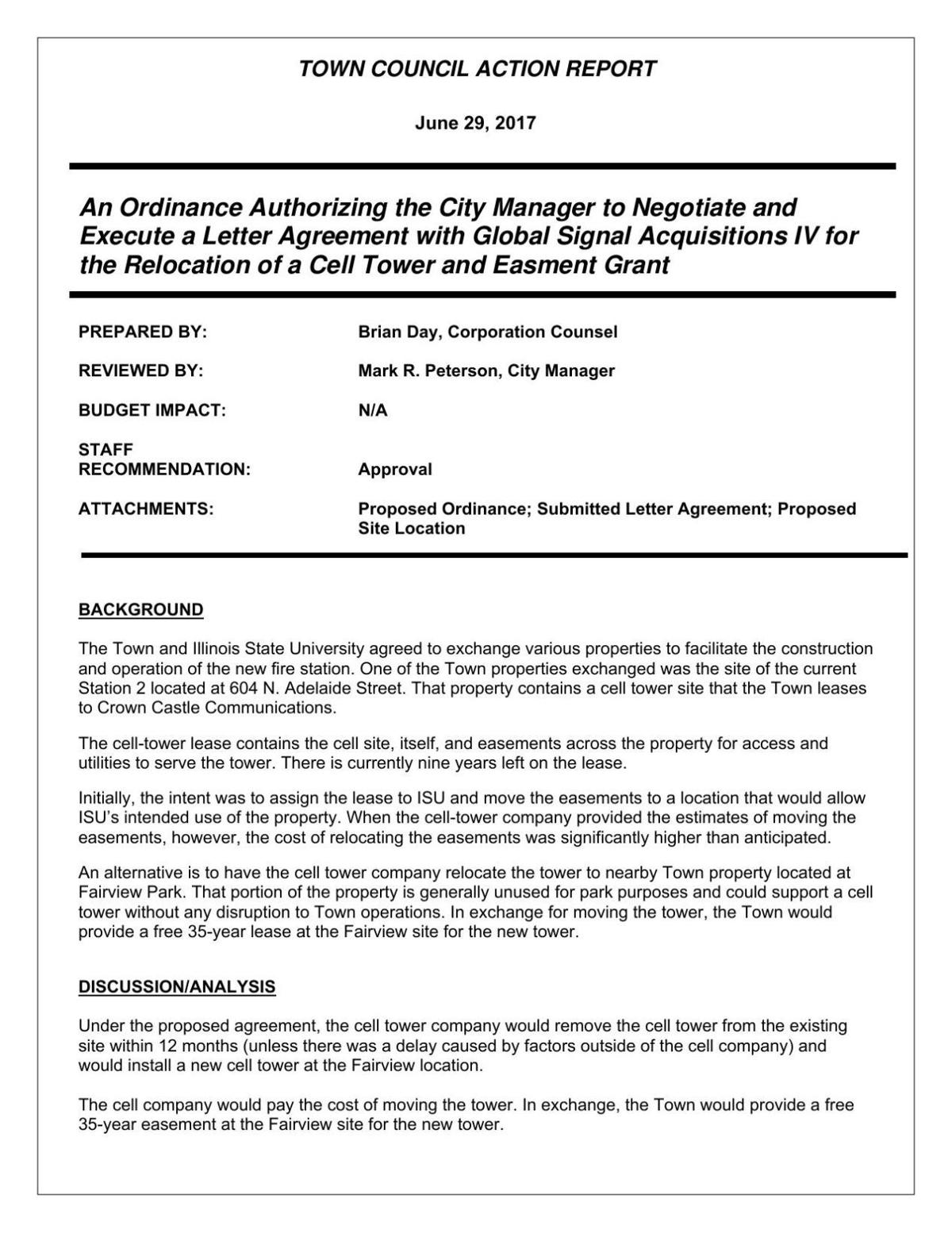 Normal City Council Materials On Cell Tower Relocation