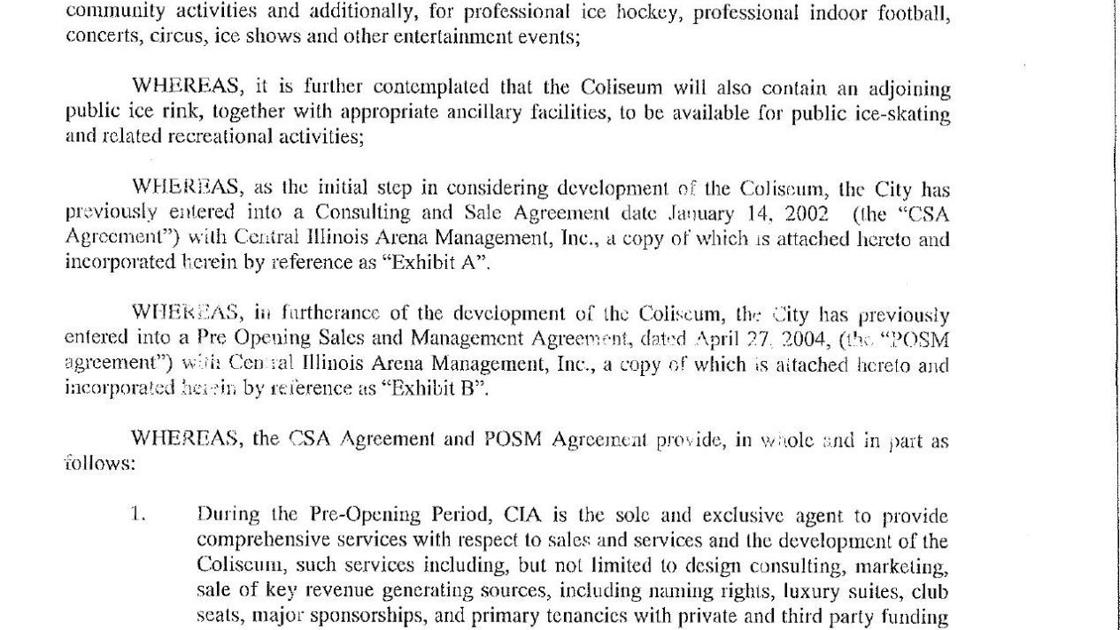 Management Agreement Between Ciam And The City Of Bloomington