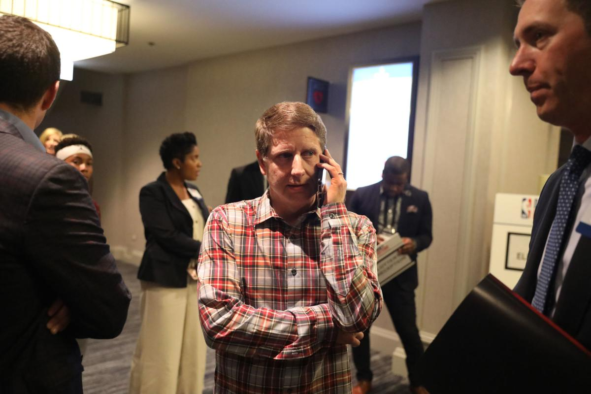 Chicago Bulls President and COO Michael Reinsdorf talks on the phone in the lobby of the Hilton Chicago before the start of the 2019 NBA Draft Lottery in Chicago on Tuesday, May 14, 2019.