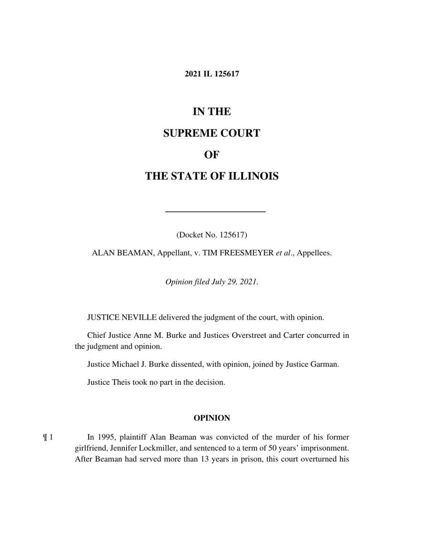 Illinois Supreme Court Alan Beaman v. Tim Freesmeyer et al. decision
