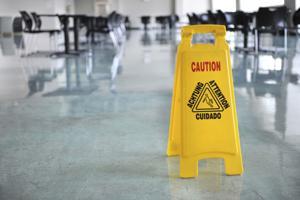 Caution Sign Inside Building
