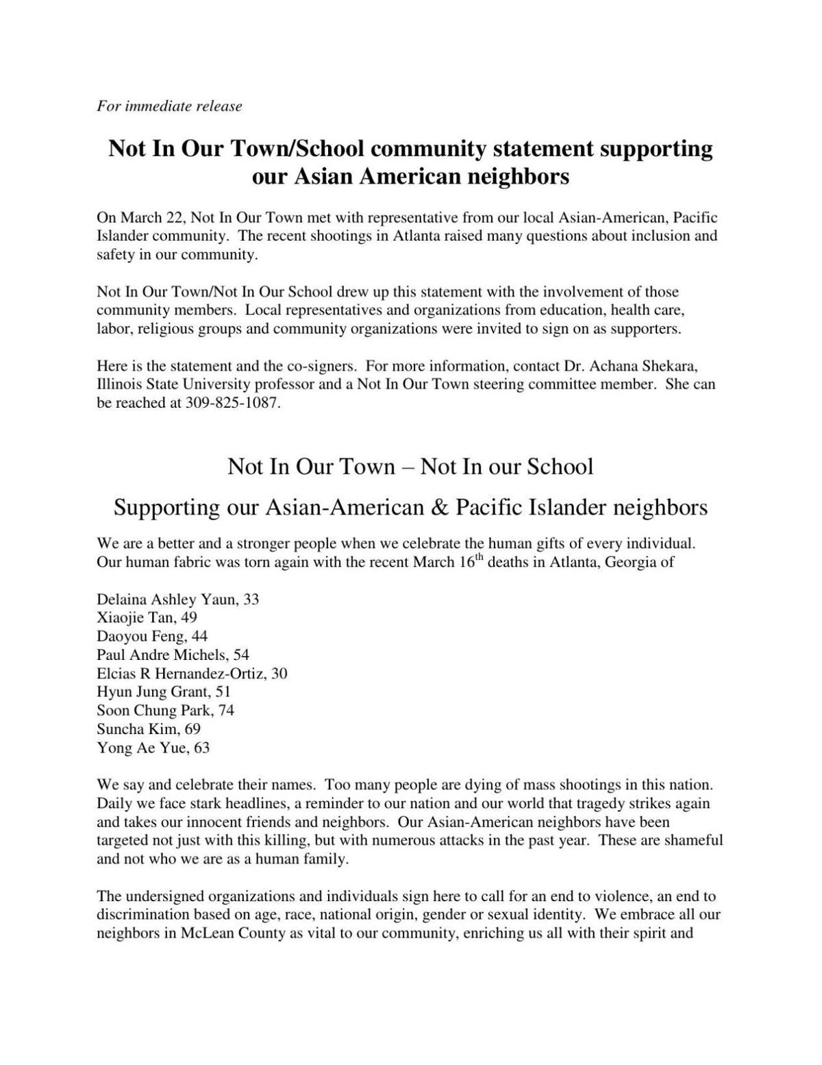 NIOT, NIOS statement in support of AAPI community