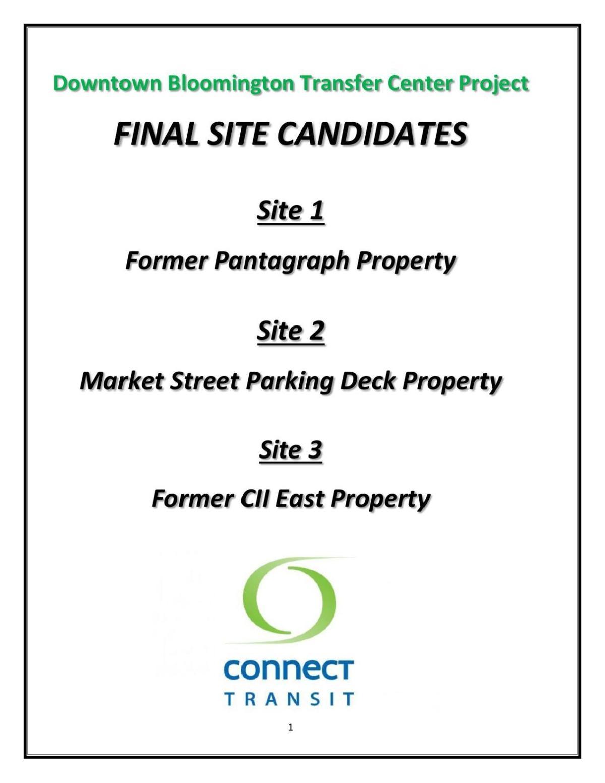 Downtown Bloomington transfer center site summaries