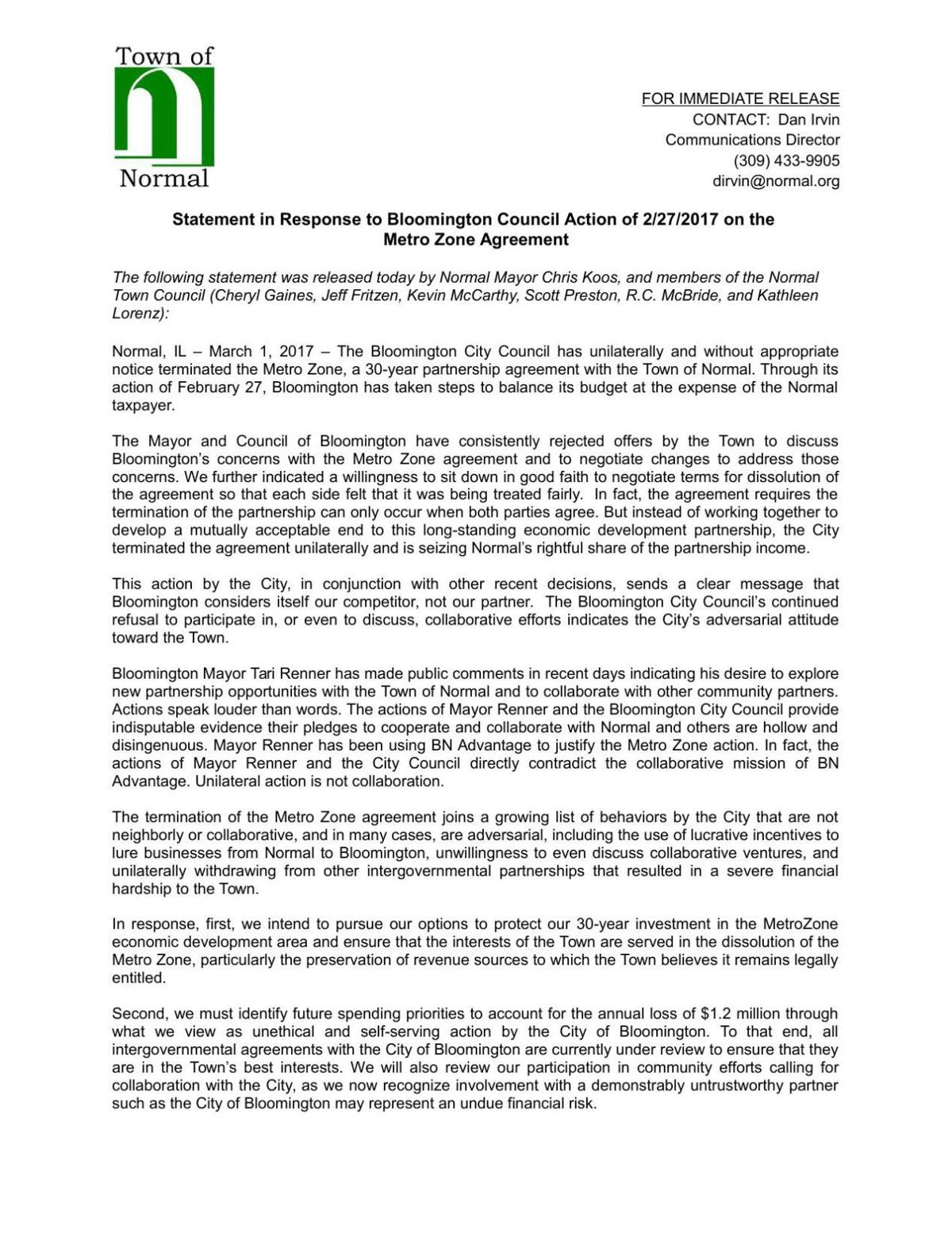 Town of Normal statement on Bloomington Metro Zone action