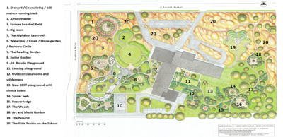 Natural playground rendering for Colene Hoose