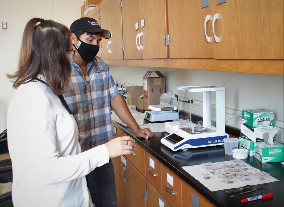 Students walk through nanoparticle process