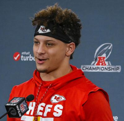 Kansas City Chiefs quarterback Patrick Mahomes answers questions during a news conference in Kansas City, Mo., on Jan. 16, 2019, ahead of the AFC Championship game against the New England Patriots.