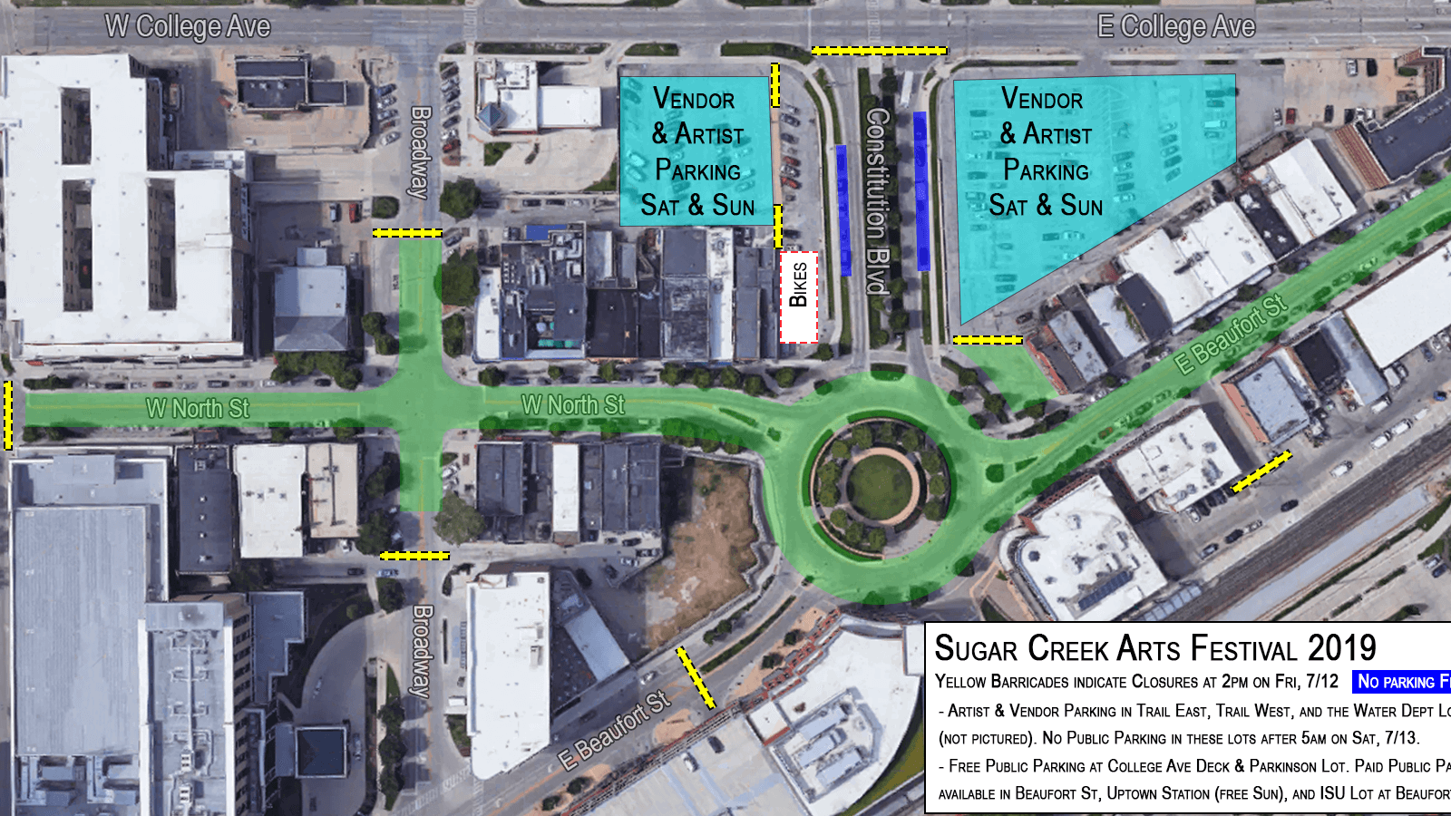 Sugar Creek Arts Festival street closures