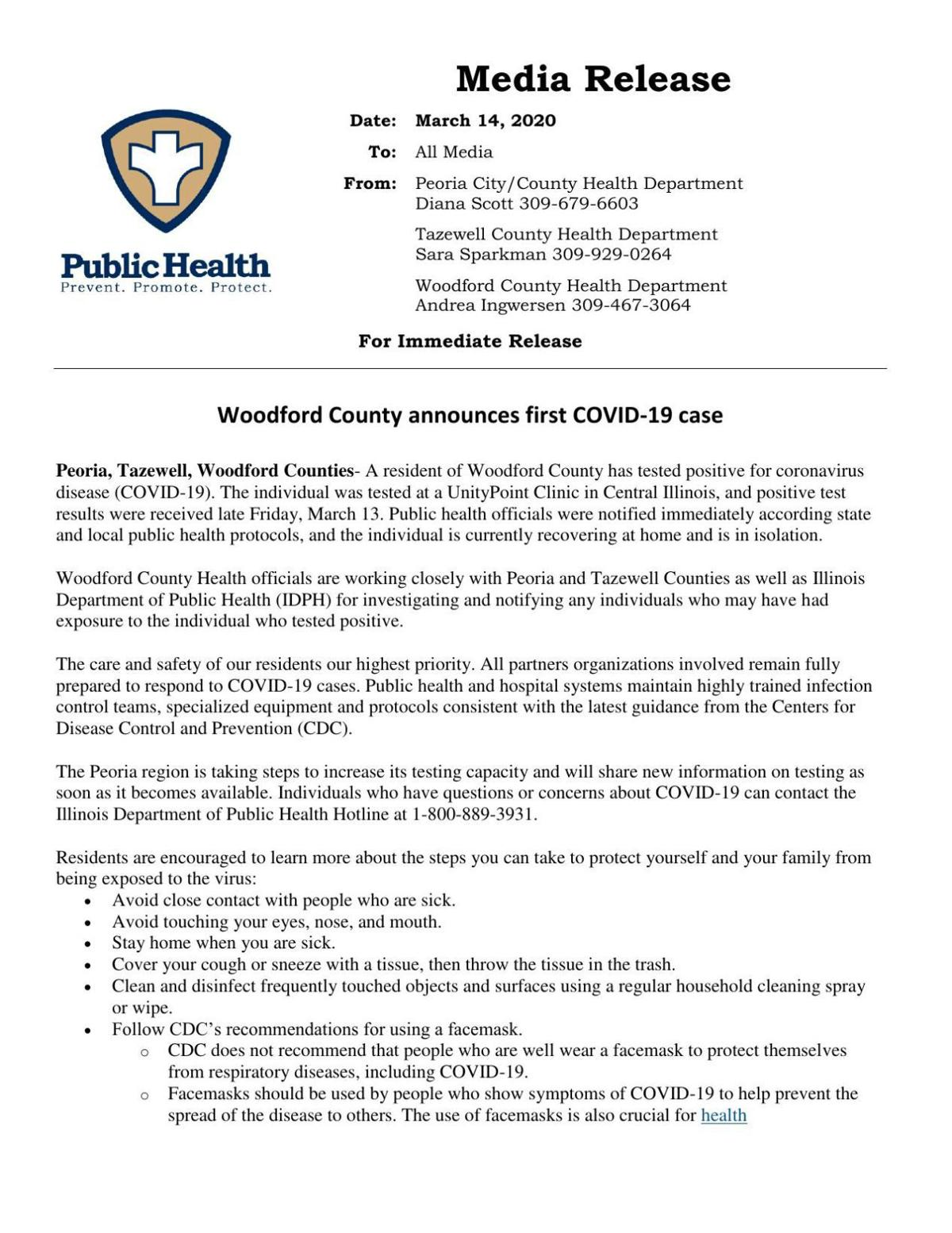 Woodford County announces first COVID-19 case