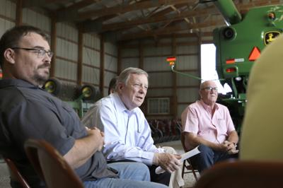 Trade war, weather frustrate farmers meeting with Durbin