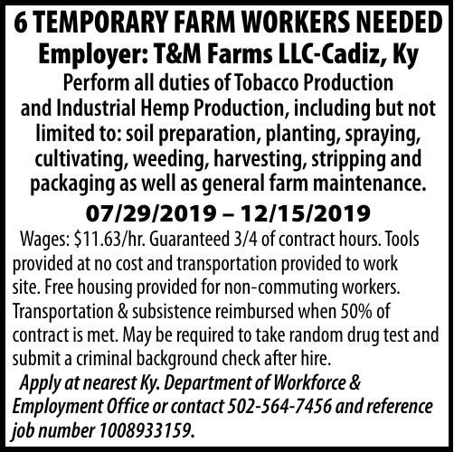 6 TEMPORARY FARM WORKERS NEEDED 06/14/2019
