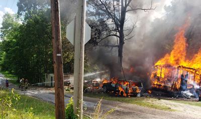 Paris Landing firefighters battle home fire