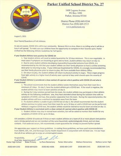 Fall athlete letter