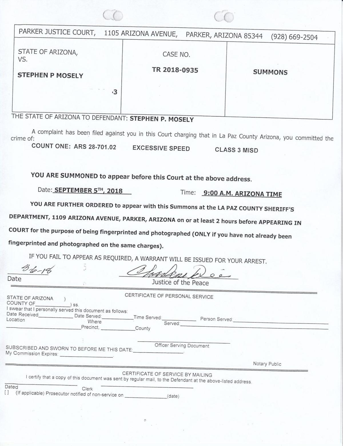 Complaint Paul Mosley Could Face Up To 30 Days In Jail Parkerpioneer Net