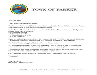 Parker sales tax letter