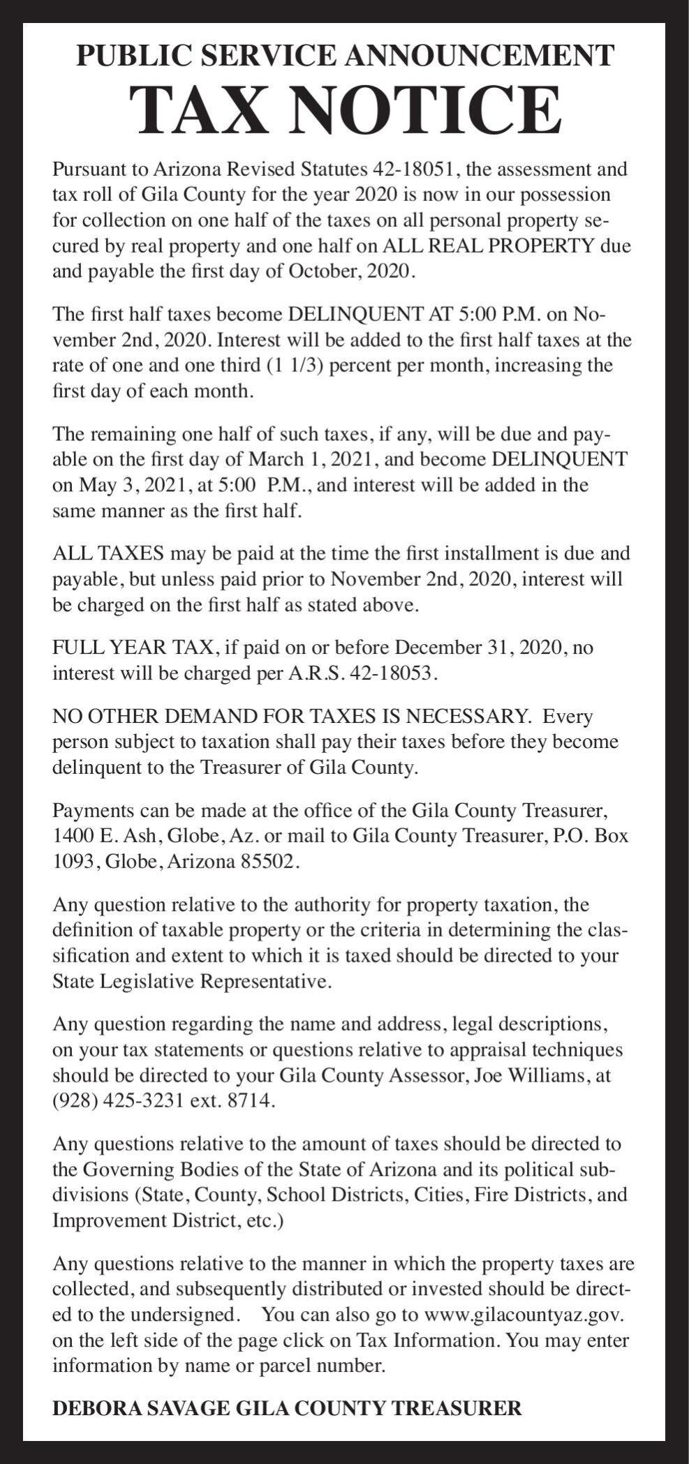 Gila County Tax Notice