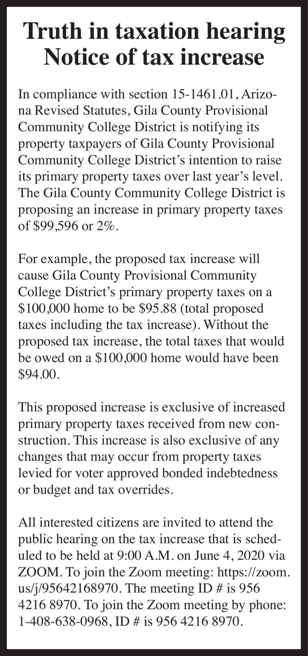 Notice of Tax Increase - Gila County Community College
