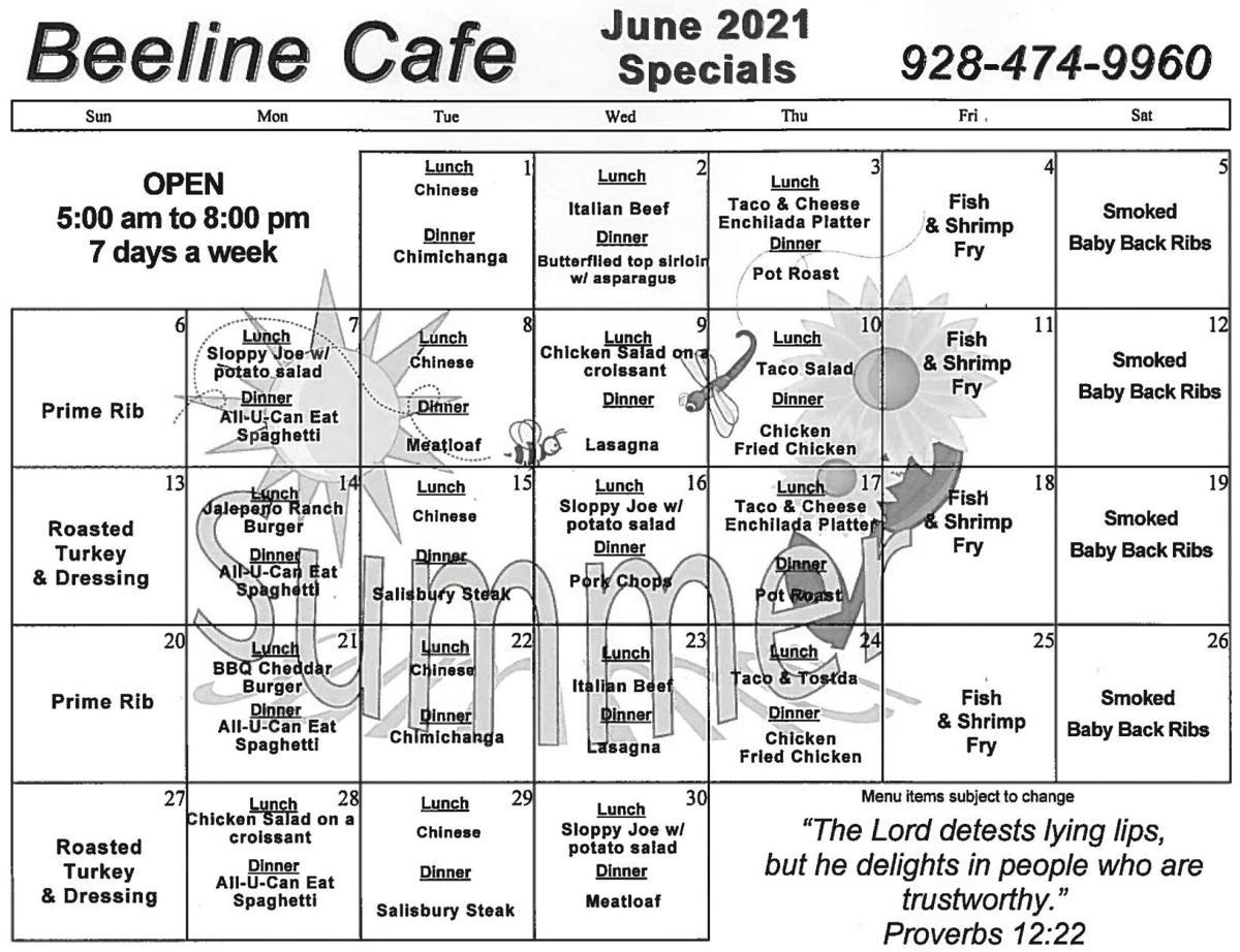Beeline Cafe Menu