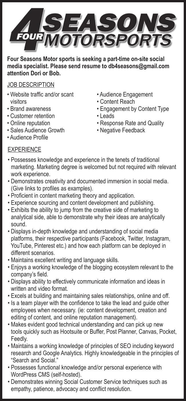 Four Seasons Motorsports Social Media Specialist Wanted