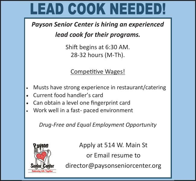 Lead Cook Needed!