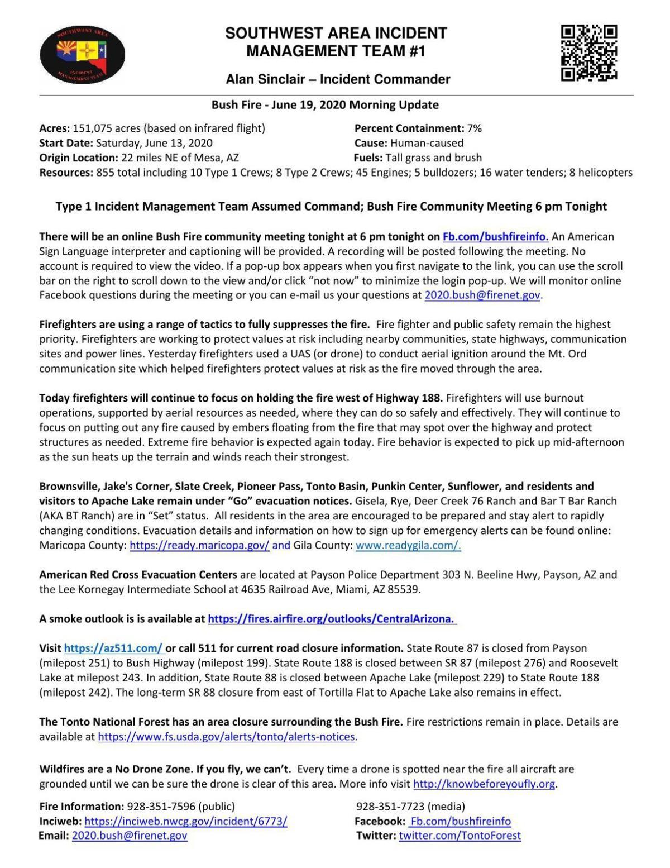 Bush Fire update June 19
