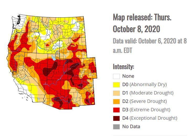 Drought map oct. 8 2020