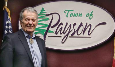 Morrissey head shot with Payson logo