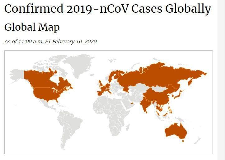 Corona virus worldwide spread