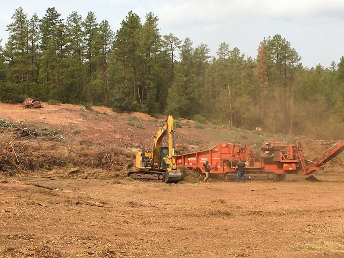 Biomass chipper working at brush pit town of payson photo