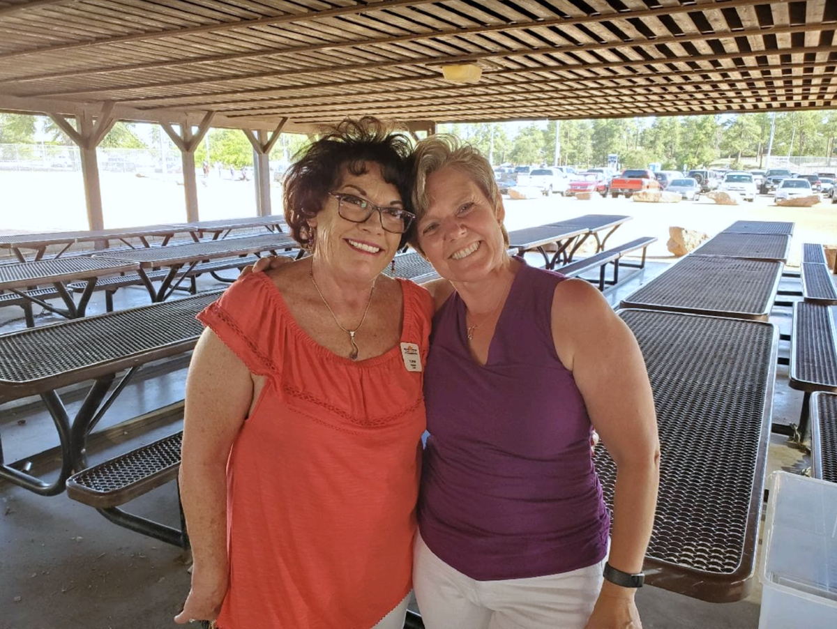 Edna Welsheimer and Gwen Zorn at retirement party
