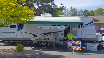The CERT trailer ransacked by thieves at the COVID-19 test site
