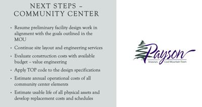 Next steps for the Community Center 1