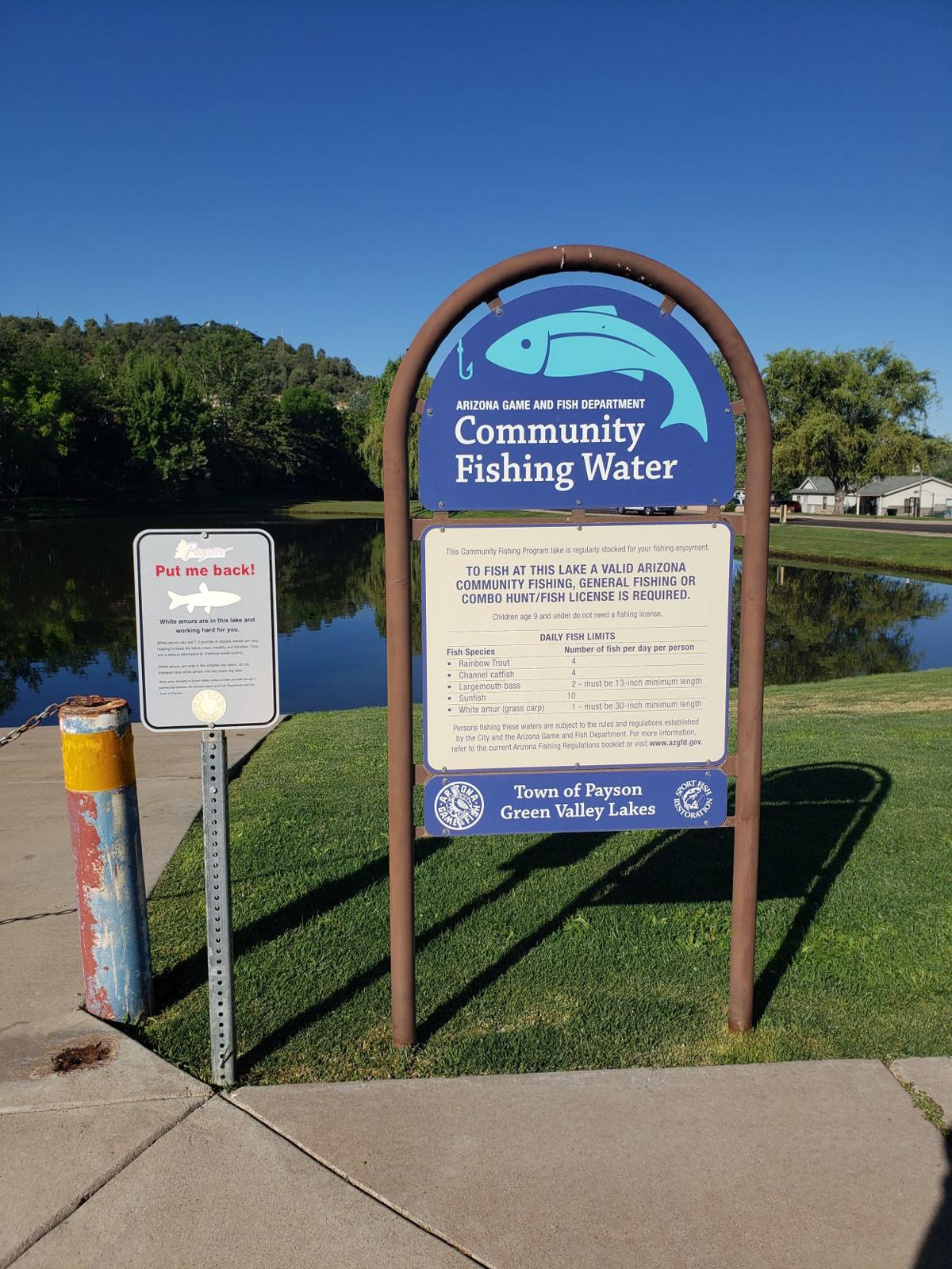 GVL signage plus plea to throw back grass carp ( white amur) to benefit weed control in the lakes.jpg