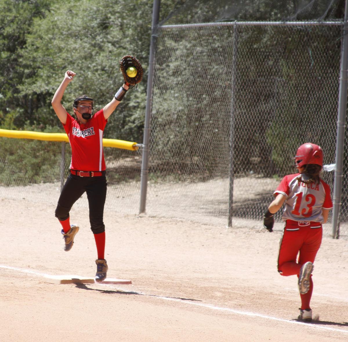 Softball Play At First